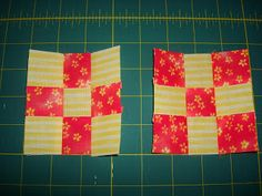 TLC Stitches: Tutorial: Nine Patches,  a new way to get two at once of the same fabric but opposites.
