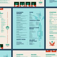 fuel_menus_dribbble_detail_j_fletcher.jpg by Jay Fletcher Cucumber Cocktail, Cocktail Drinks, Restaurant Identity, Menu Restaurant, Drink Menu Design, Beer Soup, Chorizo Tacos, Dark & Stormy, Event Branding