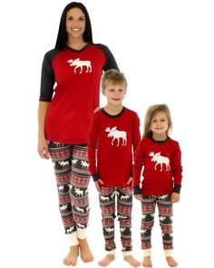 Family Matching Clothes Moose Fairy Mother Daughter Outfits Adult Kids  Sleepwear Nightwear Pjs Family Christmas Pajamas Set 18b5b152c