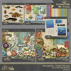 MENAGERIE UNDER THE SEA - digital scrapbooking kit from Sherwood Studio in the Attic Treasures collection at The Digi Chick http://www.thedigichick.com/shop/Menagerie-Under-The-Sea-Bundle.html