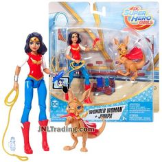 DC Comics Year 2017 Super Hero Girls with Pet Series 6 Inch Tall Figure - Wonder Woman with Pet Kangaroo JUMPA FJG79 Plus Accessories Dc Superhero Girls Dolls, Baby Superhero, Dc Comics Collection, Barbie Kitchen, Arte Dc Comics, Dc Super Hero Girls, Lex Luthor, Women Figure, Kids Shows