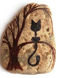 Black Cat in a Tree Painted Stone in Black Ink and by YourZenZone,: