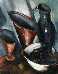 유 Still Life Brushstrokes 유 Nature Morte Painting by Maurice de Vlaminck | Still Life with Copper Goblets, c. 1910