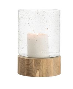 These beautiful pillar holders are made from natural wood and sand infused glass.