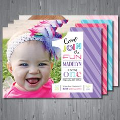 1st BIRTHDAY girls photo invitation  DIGITAL file  by uniquewv, $10.50