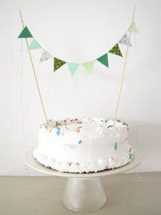 Fabric Cake Topper - Bunting Decoration - Wedding, Birthday Party, Shower Decor Mint Dinosaur boys nature green grey outdoors animals via Etsy