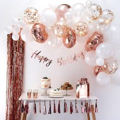 This Ginger Ray Rose Gold Balloon Arch Kit includes balloon tape and rose gold and white balloons that come in different sizes and designs. Use this balloon arch kit to decorate for a bridal shower, birthday party, or any other occasion! Gold Birthday Party, Birthday Party Celebration, Happy Birthday Parties, Balloon Birthday, 15th Birthday Party Ideas, 25 Birthday, Elegant Birthday Party, Ideas Party, 21st Party Themes