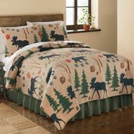 Northwoods Woodland Fleece Bedspread Coverlet from Collections Etc.