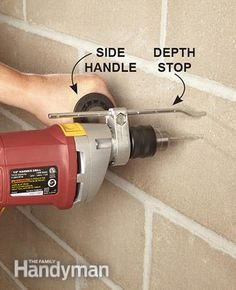 Use a depth stop when drilling into concrete. Get the Drilling Into Concrete Tools guide: http://www.familyhandyman.com/tools/drills/drilling-into-concrete-tools-rotary-hammers-and-hammer-drills/view-all