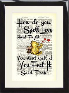 Art Print Antique Dictionary Page Winnie The Pooh How do you spell Love Piglet