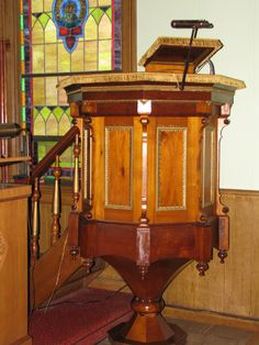 The pulpit that was built by Pastor Hjertaas. & Some items from Evanger\u0027s past. Notice the wooden candelabras and ...