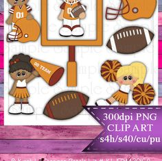 Clipart | Time For Football Orange Burgundy | Kristi W. Designs Reseller |  for Personal & Commercial Use Instant Download