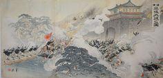Sino-Japanese War scene by Ogata Gekkou 尾形 月耕 おがた げっこう