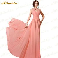 Alimida Long Evening Dress 2016 New Fashion Chiffon Gowns Cap Sleeve Sheer Back Neck Special Occasion Dresses Custom Made