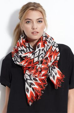 Gorgeous red & black ikat scarf. Want! Great for Fall Gamedays. $28 via @Nordstrom