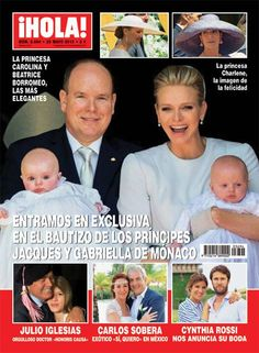 Capa da revista ¡HOLA! do Batptizado de Jacques e Gabriella do Mónaco.