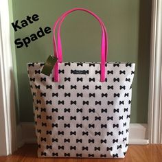 NWT  Kate Spade BOWS Bon Shopper Tote Super Cute!!!  This bag totally says KATE SPADE!!!  Colors are Black, Cream and Bright Pink. Interior had the Signature Kate Spade New York fabric in gold lettering. 2 slip pockets and care card. kate spade Bags Totes