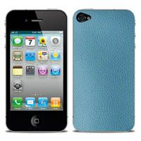 Trocadéro Genuine Leather Skin in Blue  For iPhone 4/4s by iChic Gear