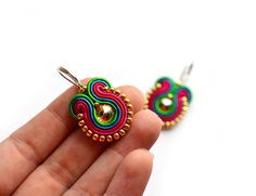 Valentines Day gift for wife - gift for girlfriend - Soutache earrings - Swarovs., Valentines Day gift for wife - gift for girlfriend - Soutache earrings - Swarovski earrings Gift for mom Valentines Day gift for girlfriend - Gift Girlfriend, Birthday Gifts For Girlfriend, Gifts For Wife, Bridesmaid Earrings, Bridesmaid Gifts, Mom Valentines Day Gift, Soutache Earrings, Bohemian Jewelry, Handmade Jewelry