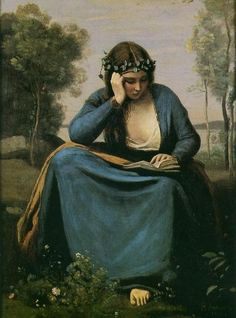 Woman Reading a Book - Jean-Baptiste-Camille Corot 1845