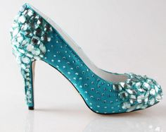 Maybe for a something blue? these would certainly make a statement! High end turquoise oasistiffany blue crystal shoes, hand sewd crystal wedding bridal shoes , beaded toe and heels pumps prom shoes