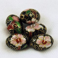 6 Vintage Cloisonne Black Oval Beads  Large Chinese by EstateBead, $8.00