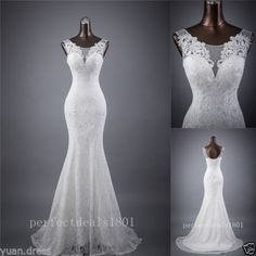 Mermaid-White-Ivory-Bridal-Gown-Wedding-Dress-Custom-Size-4-6-8-10-12-14-16-18