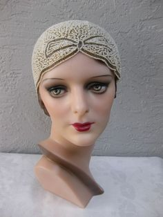 RESERVED for ALLY     Vintage 1920's Art Deco Flapper Beaded Cloche Hat       RESERVED for ALLY