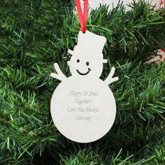 Personalise this Snowman Decoration with any message over 4 lines and up to 20 characters per line Decoration comes supplied with a ribbon ready to