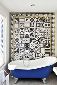 Love this cobalt clawfoot tub makeover and tile focal wall! Bathroom inspiration how to fake a well-traveled home. Bathroom Inspiration, Bathroom Decor, Tiles, Beautiful Bathrooms, Tile Bathroom, Cement Tile, Clawfoot Tub, Black And White Tiles, Bathroom Design