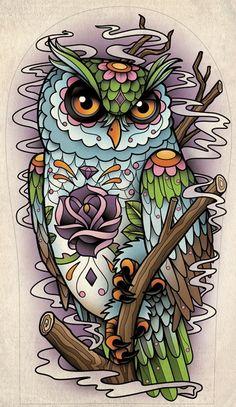 dibujo buho tattoo ~ dibujo buho ` dibujo buho a lapiz ` dibujo buho infantil ` dibujo buho facil ` dibujo buho tattoo ` dibujo buho realista ` dibujo buho minimalista Owl Tattoo Design, Tattoo Designs, Tattoo Ideas, Sugar Skull Owl, Sugar Skull Tattoos, Skeleton Tattoos, Fake Tattoos, Pretty Tattoos, Buho Tattoo