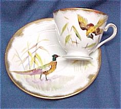 Lefton China Ring Necked Pheasant Tea Cup & Saucer