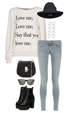 """""""Untitled #3192"""" by meandelstyle ❤ liked on Polyvore featuring Wildfox, rag & bone, Miss Selfridge, Chloé, ASOS and Ray-Ban"""