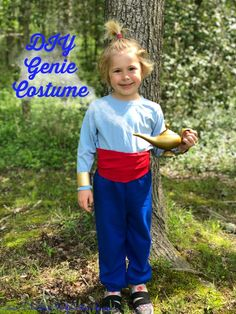 Genie Costume - No sew and works for all ages Aladdin is family favorite movie and to us the star is the Genie. It's also pretty easy to pull together a DIY Genie Costume. Kids Genie Costume, Aladdin Genie Costume, Genie Aladdin, Family Halloween Costumes, Halloween 2019, Disney Halloween, Halloween Ideas, Halloween Party, Carnival