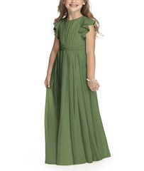 <p>Dessy Flower Girl DressStyle FL4038 is a full length, flutter sleeve flower girldress with <span>shirred bodice and attached ruched sash</span>. Style FL4038is made of lux chiffon.</p>