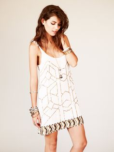 Love Sam Gauze Sequin Shift Dress at Free People Clothing Boutique