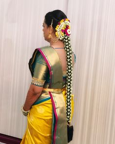 Stunning Kerala bridal hairstyle with long braid with fresh flower net . MUA: Suma Makeup Artist Source by South Indian Wedding Hairstyles, Bridal Hairstyle Indian Wedding, Bridal Hairdo, Braided Hairstyles For Wedding, Indian Hairstyles, Bride Hairstyles, Bridal Blouse Designs, Long Braids, South Indian Bride