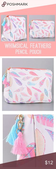 """""""Whimsical Feathers"""" Pencil ✏️ Pouch It's the little things that make girls happy! Keep your pretty little things in this pretty little feather-themed pouch with tassels. Can be used as a cosmetic bag too! Product dimensions: 8"""" x 4"""" x 5 1/2"""" Paper Hearts Bags Cosmetic Bags & Cases"""