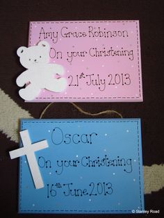 Personalised Christening plaques