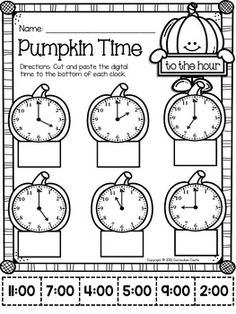 Pumpkin Time Center: Telling Time to the Hour. by Curriculum Castle Math For Kids, Lessons For Kids, Fun Math, Math Lessons, Math Activities, 2nd Grade Worksheets, School Worksheets, Time To The Hour, Math Sheets