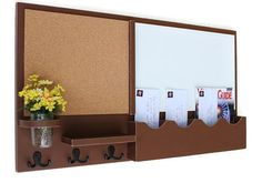 This large message center would work great in an entry way or kitchen. With three double hooks to hang your keys, coats, or purse, a small shelf, a white board, a cork board for all those pieces of paper and two single mail slots for envelopes that will fit regular or legal sized letters. It also has a large mail slot to accommodate larger mail and magazines. It also includes a mason jar for flowers. The mason jar which is included is removable so you can change your flowers often for a new…