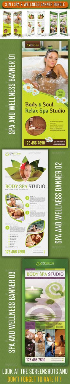 3 in 1 Spa Wellness Banner Bundle 02 . 3 High impact Roll-Up Banner Template Layouts, perfect for Spa, Wellness, Beauty, Therapy, Holiday, Fashion. Business advertisement or product promotion! Pack included: 3 PSD files Fully layered and editable Easy to Customise CMYK 150dpi Print Ready 30×70 inches 32×72 inches (Print size) 1 inch bleed all sides Safe guides, trims, Bleeds Smart object placeholder preview images not included Readme file Fonts Required: Myriad – Adobe Software System Font…