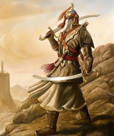 arab swordsman fantasy art at DuckDuckGo Fantasy Races, Fantasy Armor, Medieval Fantasy, Fantasy Character Design, Character Concept, Character Art, Dnd Characters, Fantasy Characters, Arabic Characters