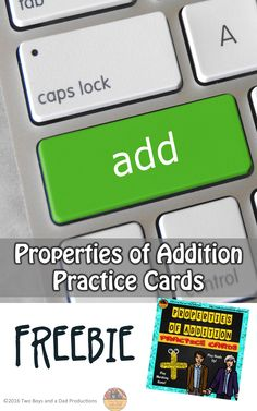 Do your students need practice with the Properties of Addition? Can they identify each addition property by clues? Examples? Then use this set of 12 free colorful properties of addition cards which can be used in many ways for students to practice or memorize the following properties of addition:  ★ Commutative Property of Addition ★ Associative Property of Addition ★ Zero or Identity Property of Addition  Then check out my other resources for the Property of Addition!