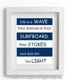 Boy room art, inspirational quotes for boys, surfer boy, inspirational surf quotes, dorm room decor, teen boy art, nautical boy room. $9.99, via Etsy.