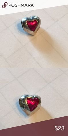 Heart shaped Pandora charm Lovely heart shaped charm with fushia heart shaped detail Pandora Jewelry Bracelets