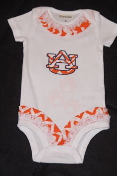 Girls Auburn Spirit Wear, Baby Onsie, Shortsleeved Romper, Romper, All in One, Size 6-12 Months by BarnsleeBaby on Etsy
