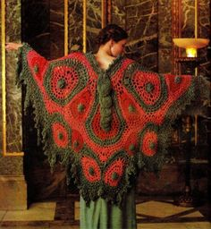 KinsieWoolShop on Etsy sells the vintage crochet pattern for this 1970s crochet butterfly shawl.