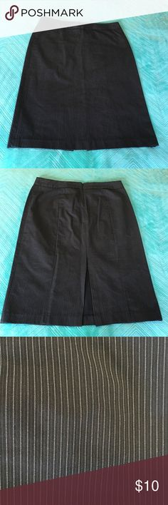 "Black Pinstriped Pencil Skirt Beautiful pencil skirt with zipper and hook & eye closure - pinstripe detailing best shown in 3rd picture - flattering fit with some slight stretch - measures 25"" from top to bottom GAP Skirts Pencil"