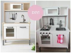 Het bekende Duktig keukentje van Ikea kun je heel leuk pimpen! Vandaag een DIY voor deze makkelijke make-over! Met ideeën van Pinterest.